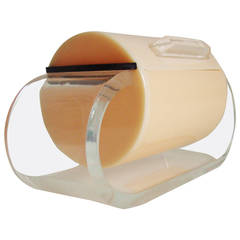 Rare English Art Deco Vanity Box in Peach, Black and Clear Lucite