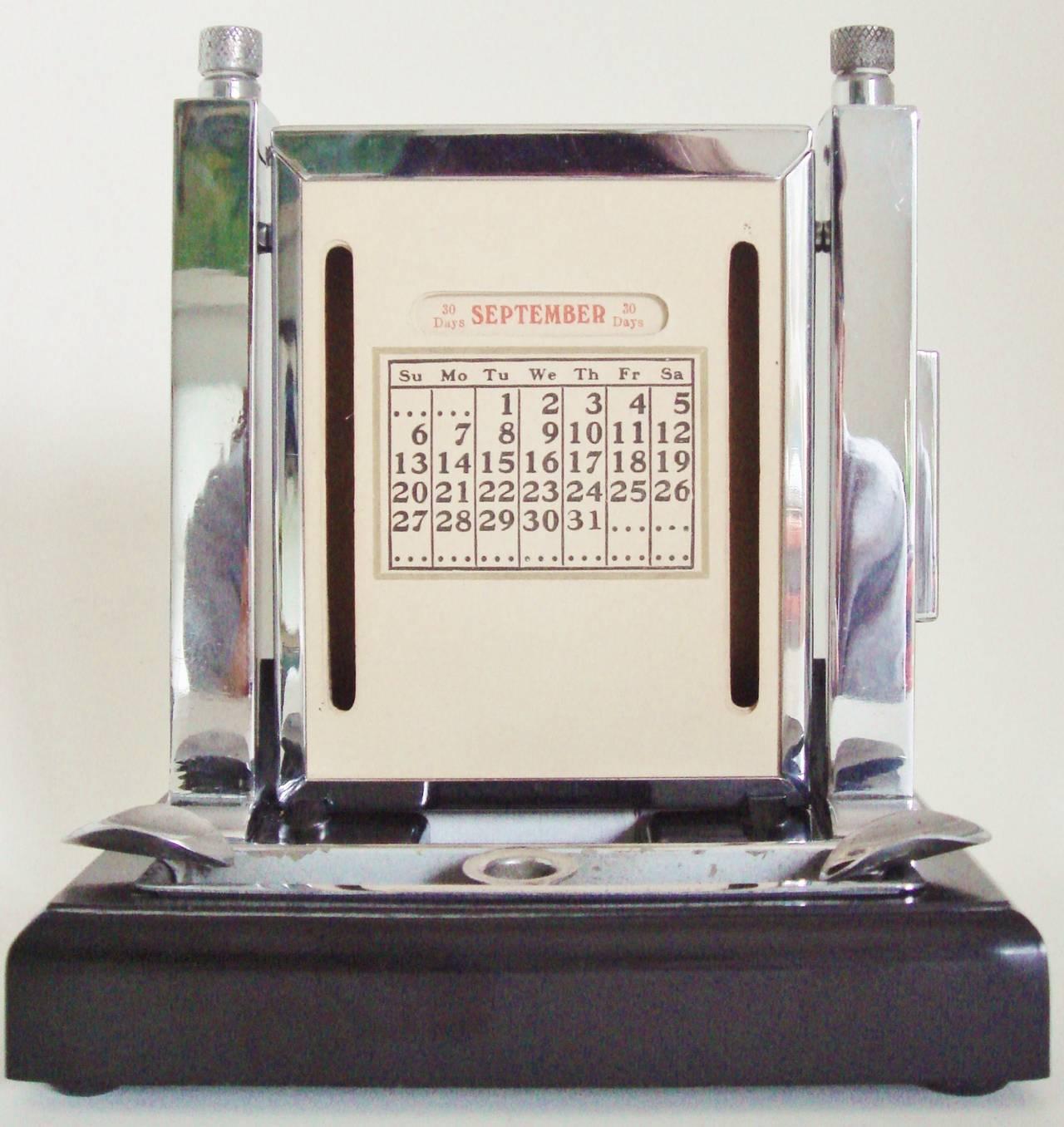 Art Deco Perpetual Calendar, Cigarette Dispenser, Striker Lighter and Ashtray 10