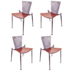 Set of Four 1980's Modern Italian RCS Organic Dining Chairs for Tecno.