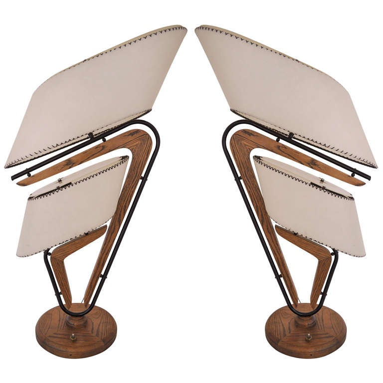 american mid century modern huge 260 boomerang table lamps at 1stdibs. Black Bedroom Furniture Sets. Home Design Ideas