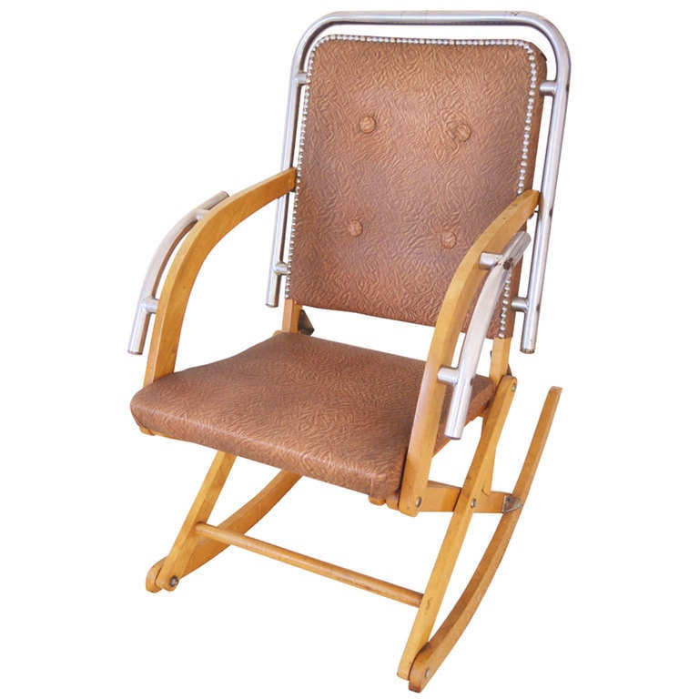 Canadian Mid-Century Modern Folding Rocking Chair in Blonde Wood and Chrome. For Sale