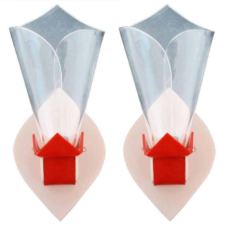 English Art Deco Lucite and Perspex Geometric Flower-Form Wall Sconces. For Sale