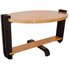 Restored Canadian Art Deco Oval Bird's Eye Maple Sofa Table.