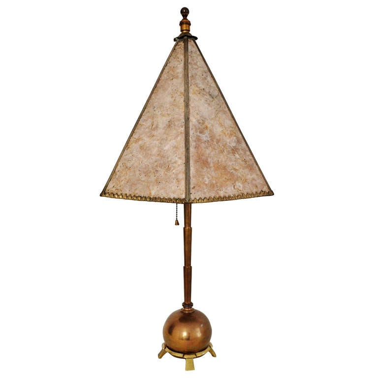 American Art Deco Brass Table Lamp With Mica Shade For