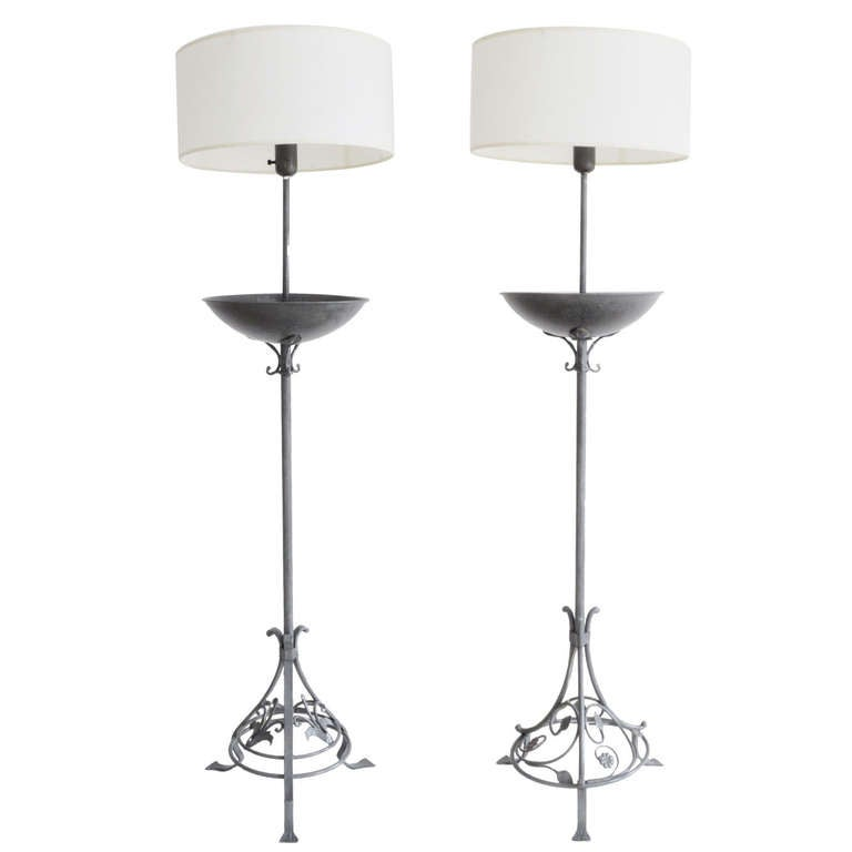 American Art Deco Pair of Wrought Iron Floor Lamps with Integral Jardinieres For Sale