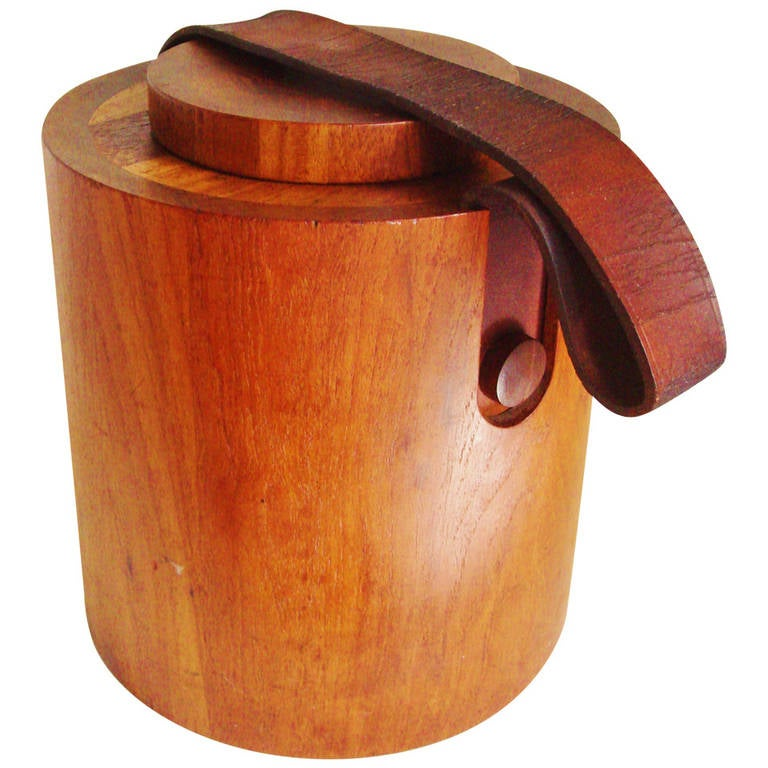 Large Danish Teak Drum Ice Bucket with Leather Carrying Strap by Nissen.