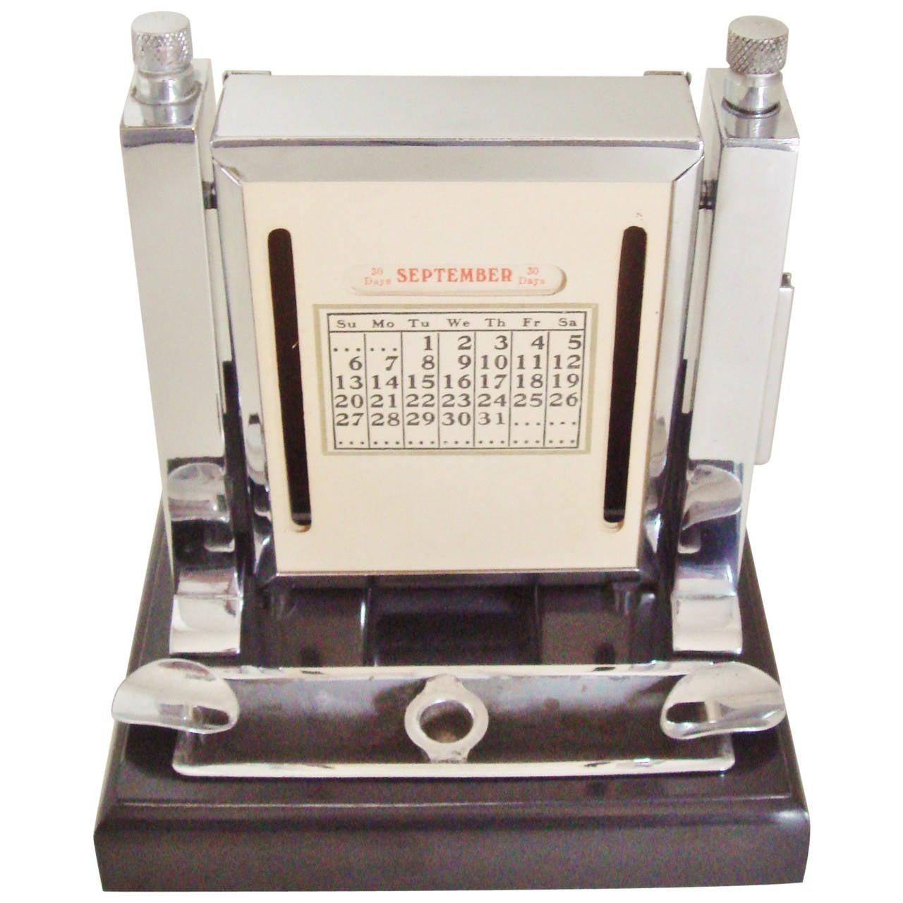 Art Deco Perpetual Calendar, Cigarette Dispenser, Striker Lighter and Ashtray 1