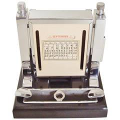 Art Deco Perpetual Calendar, Cigarette Dispenser, Striker Lighter and Ashtray