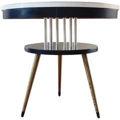 American Mid-Century Modern Arborite, Wood and Brass, Two-Tier Side Table