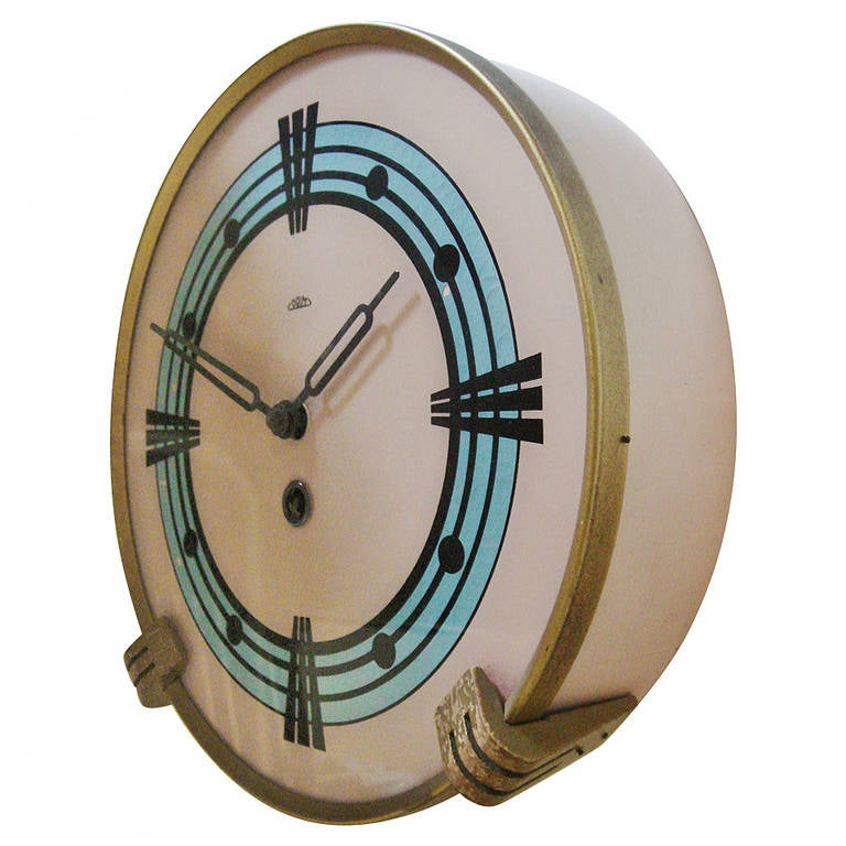 mid century modern reverse painted mechanical wall clock at 1stdibs