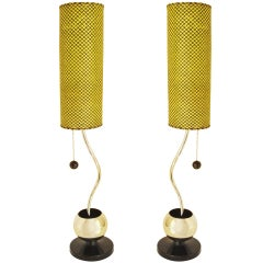 Pair of Eccentric American Mid-Century Modern Lamps Attributed to Majestic