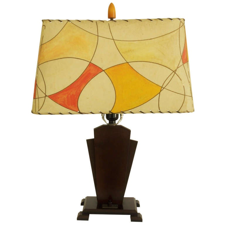 American Art Deco 'Outsider-Art' Bakelite Lamp with Original Painted Shade. For Sale