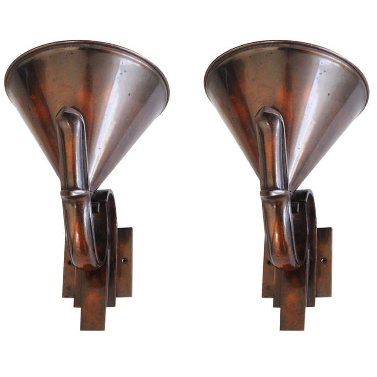 Pair of French High Art Deco Solid Bronze Torchiere or Uplighter Wall Sconces at 1stdibs