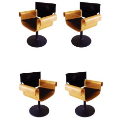 Canadian Mid-Century Set of Four Bent Plywood Swivel Chairs by PlyDesign.