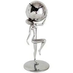 German Art Deco Chrome-Plated Nude Figurine Holding a Mechanical Ball Clock.