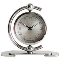 German Art Deco Chrome-Plated, 8 Day Mechanical, Swiveling Shelf Clock