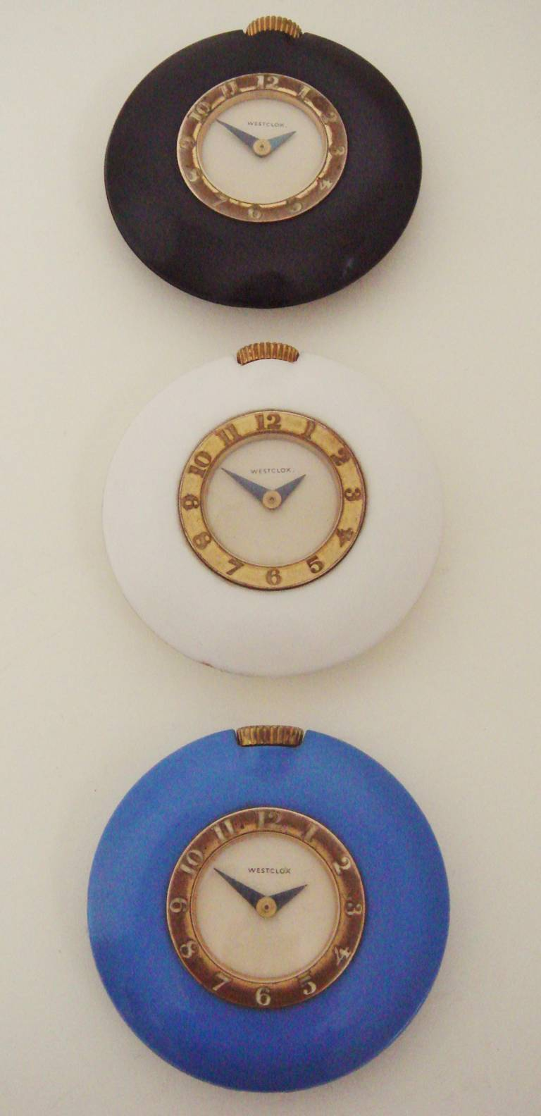 Plated Set of Three American Art Deco Bakelite Purse Watches by Westclox. For Sale
