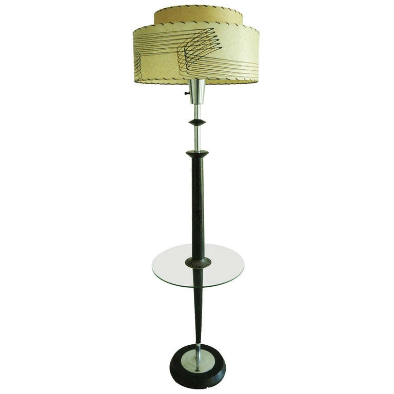 majestic floor lamp with integral glass table for sale at 1stdibs. Black Bedroom Furniture Sets. Home Design Ideas