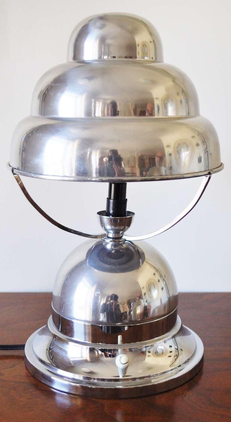 french art deco aluminum bibendum table lamp for sale at 1stdibs. Black Bedroom Furniture Sets. Home Design Ideas