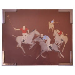 American Art Deco Newman Decor Polo Match Airbrush Painting by Sue in NRA Frame.