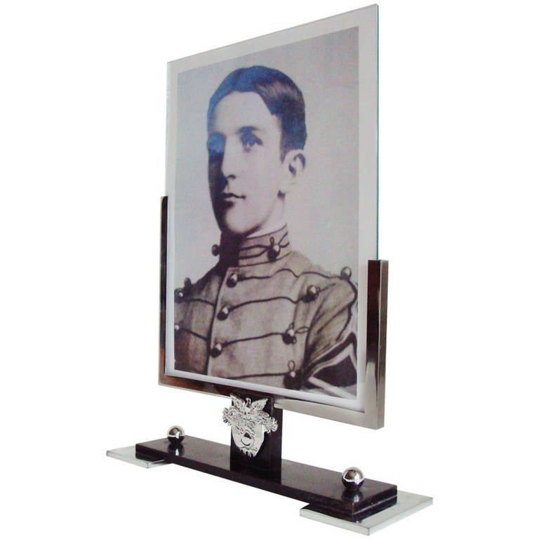 Rare American Art Deco Chrome and Bronze West Point Asymmetrical Photo Frame