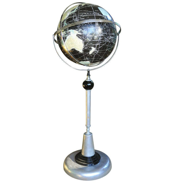 american art deco machine age floor standing globe at 1stdibs. Black Bedroom Furniture Sets. Home Design Ideas