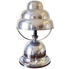 French Art Deco Aluminum Bibendum Table Lamp.