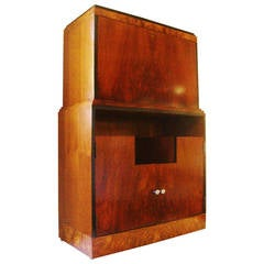 American Art Deco Skyscraper Drop-Front Veneer and Black Lacquer Bar/Secretaire.