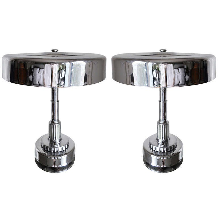 Pair of American Globe Art Deco/Machine Age Chrome Plated Table Lamps