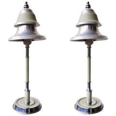 Pair of American Art Deco/ Machine Age Twin Shade Console Lamps
