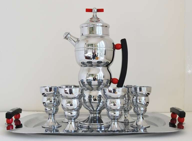 American Art Deco Farberware Twelve Piece Hostess Cocktail/Coffee Service In Good Condition For Sale In Port Hope, ON