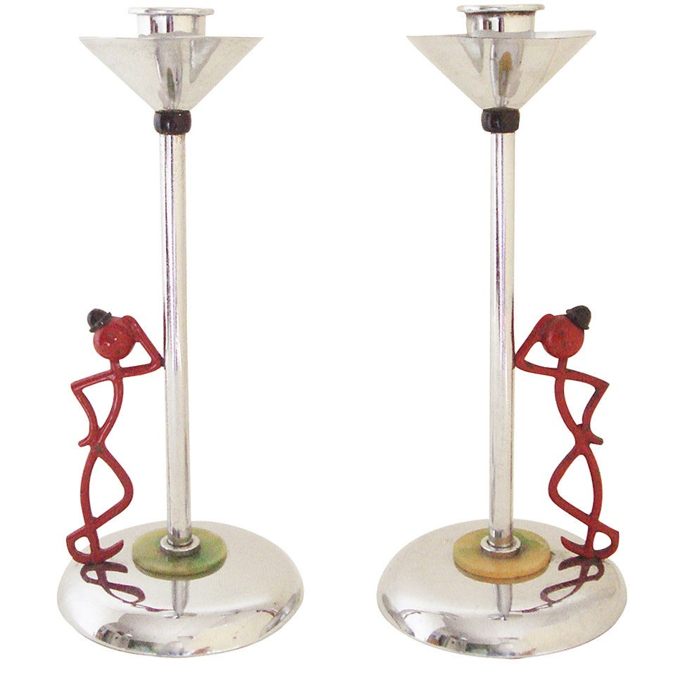 """Pair of English Art Deco Chrome Plated """"Leaning on the Lamp-Post"""" Candlesticks"""