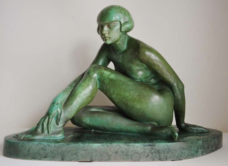 Large French Art Deco Green Faux Copper Patina Ceramic Seated Nude Sculpture. 2