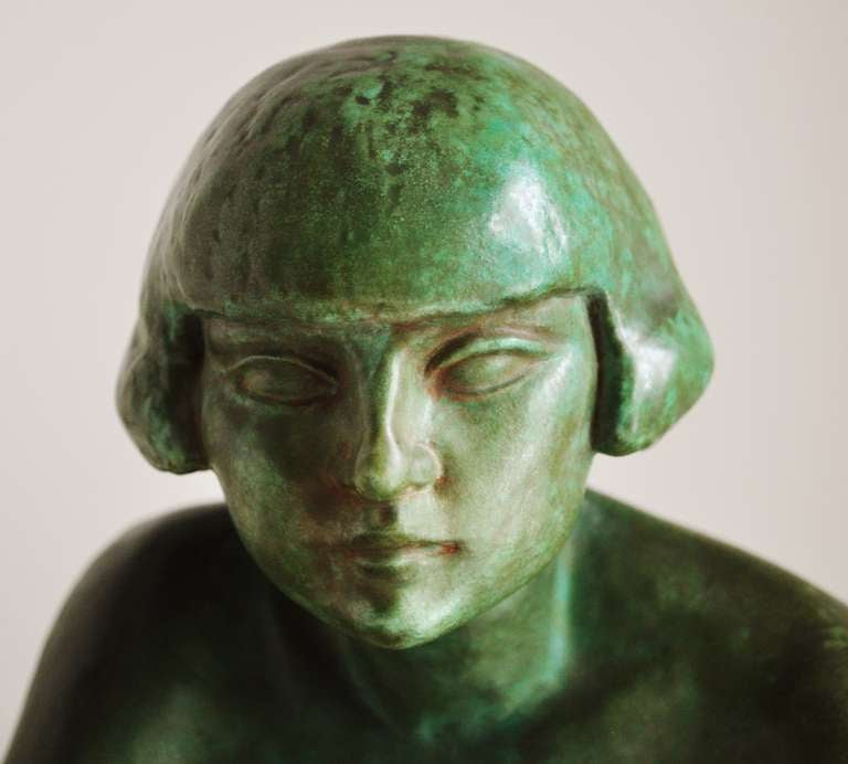 Large French Art Deco Green Faux Copper Patina Ceramic Seated Nude Sculpture. 5