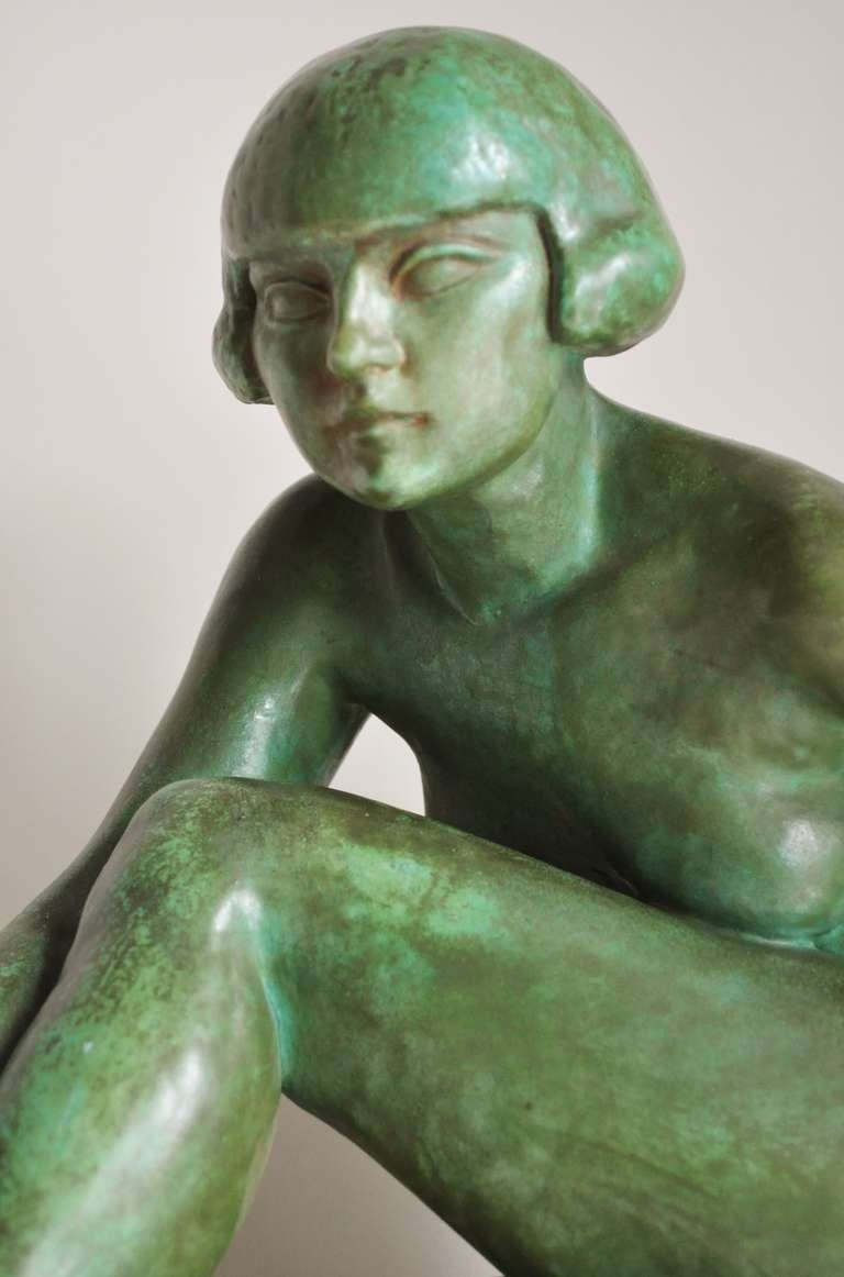 Large French Art Deco Green Faux Copper Patina Ceramic Seated Nude Sculpture. 4