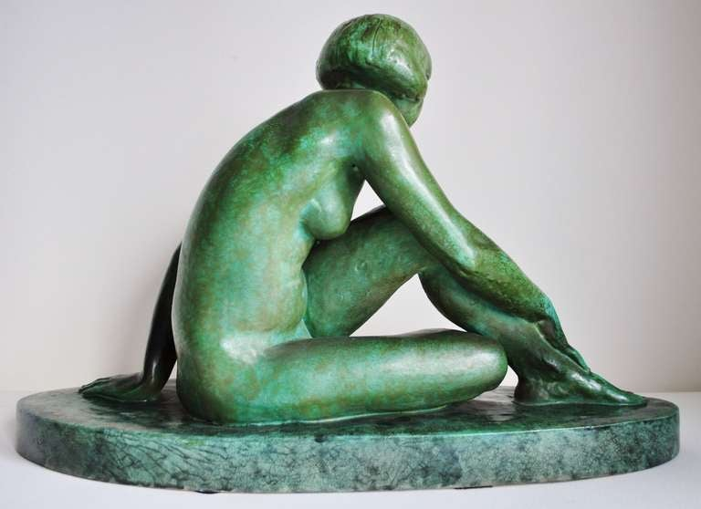 Large French Art Deco Green Faux Copper Patina Ceramic Seated Nude Sculpture. 3