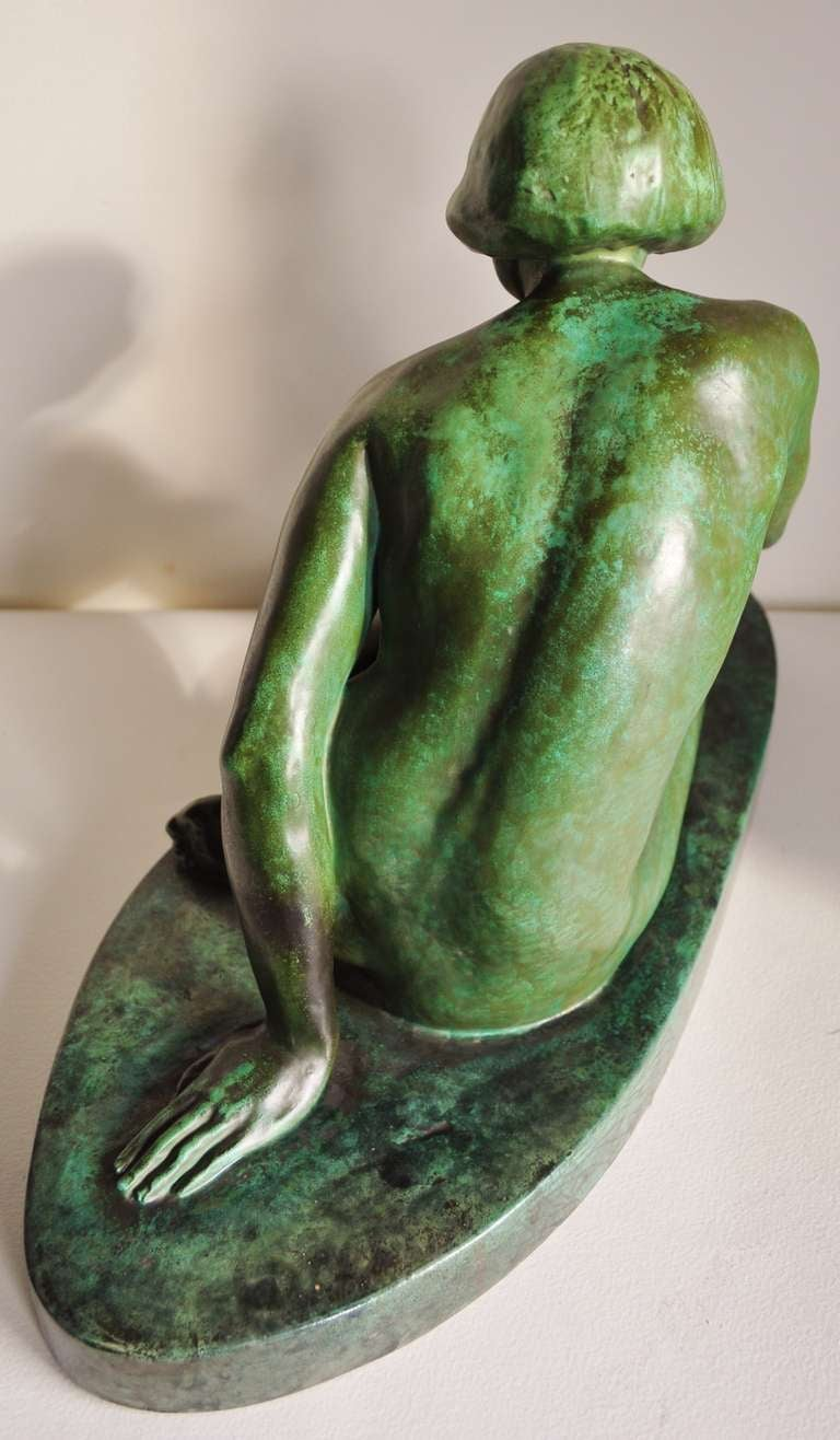 Large French Art Deco Green Faux Copper Patina Ceramic Seated Nude Sculpture. 6