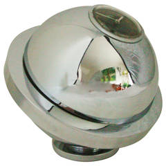 French Art Deco Chrome-Plated Covered, Saturn Bonbon Dish with UTI Paris Clock