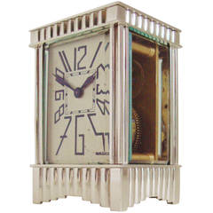 Exquisite French Art Deco Silver Plated Miniature Mechanical Carriage Clock