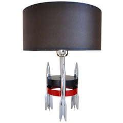American Art Deco Machine Age ChromeTriple Rocket Based Lamp.
