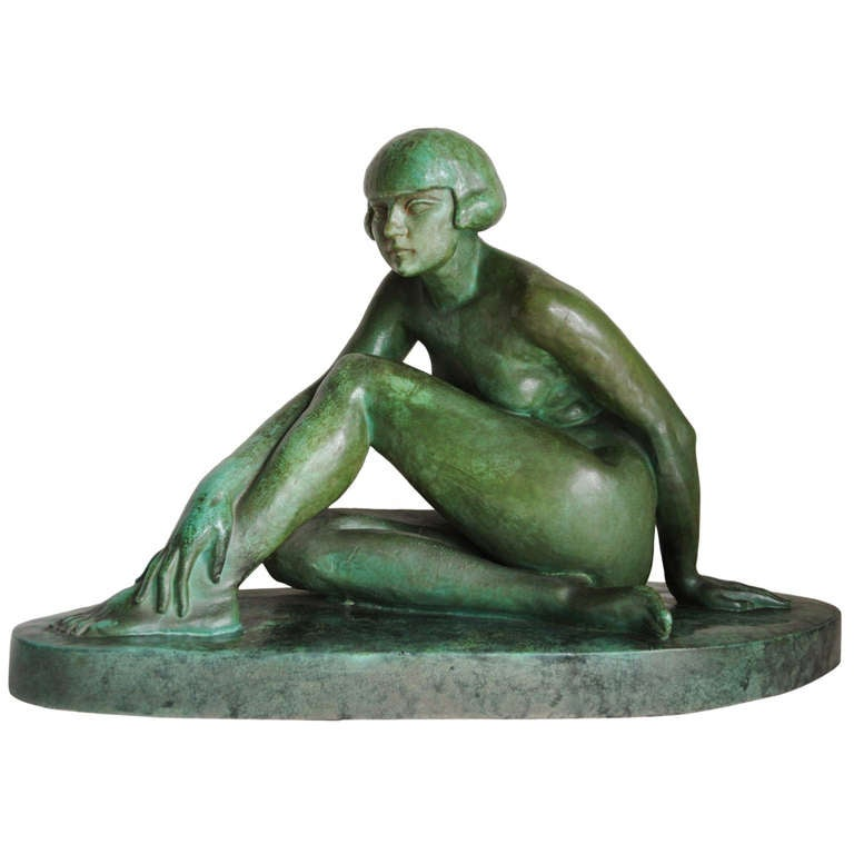 Large French Art Deco Green Faux Copper Patina Ceramic Seated Nude Sculpture. 1