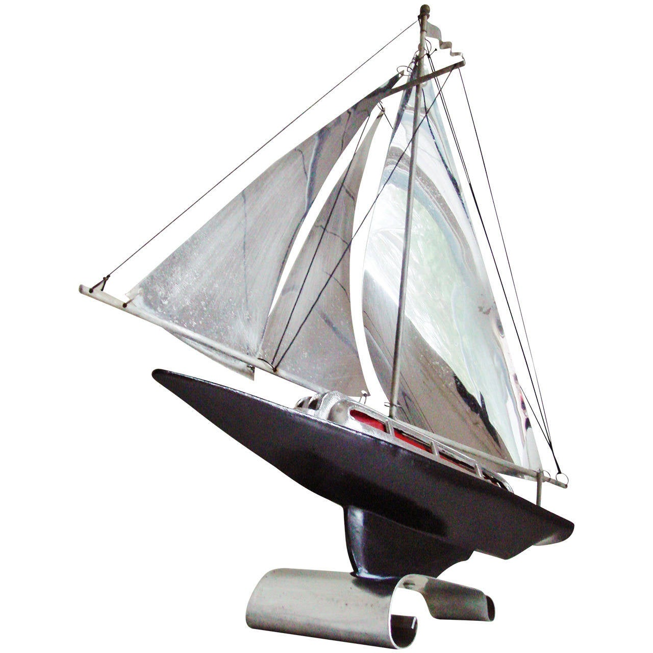 American Art Deco Streamline Figural Racing Yacht Table Lamp