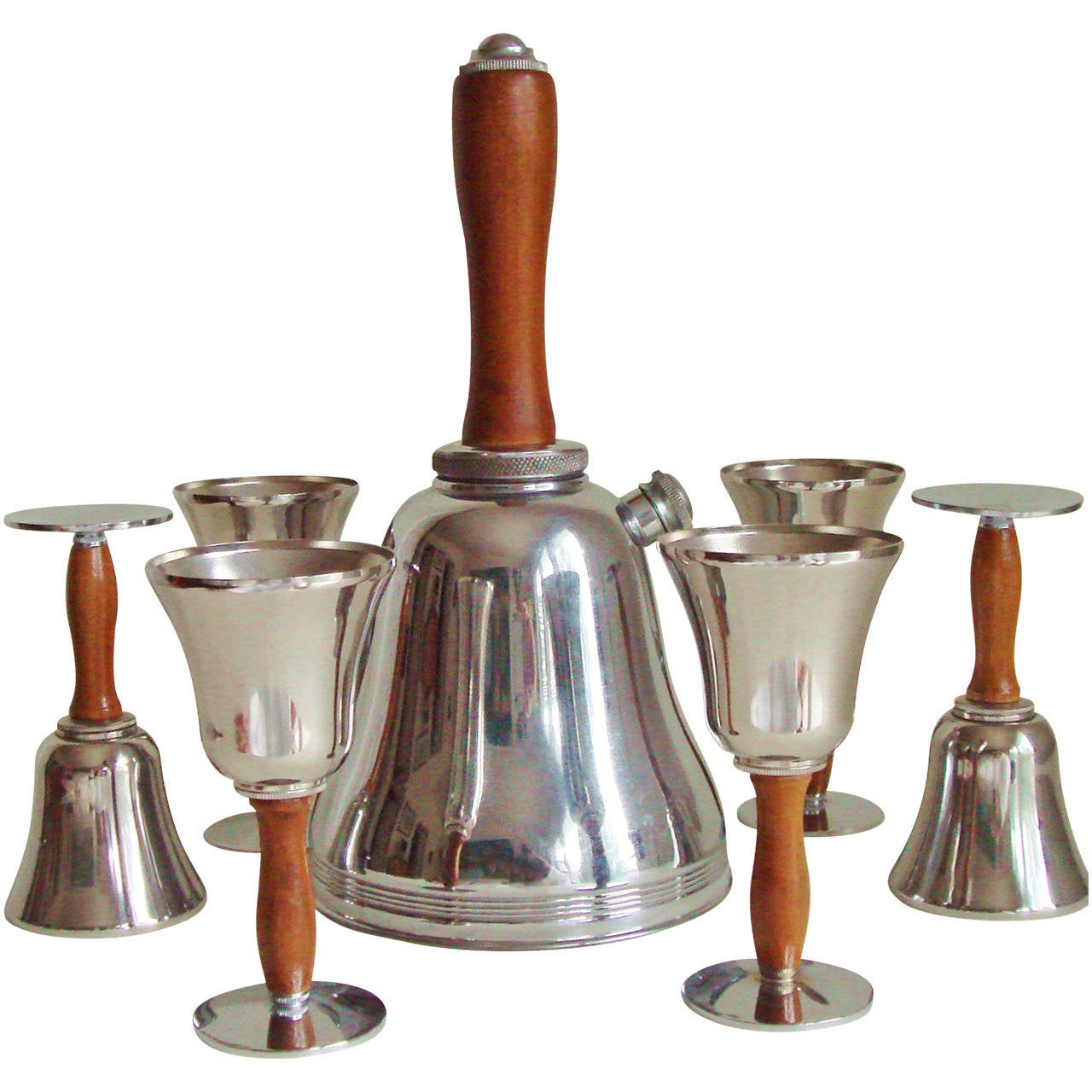Iconic American Art Deco Seven-Piece Town Crier Cocktail Set by Keystone Silver For Sale