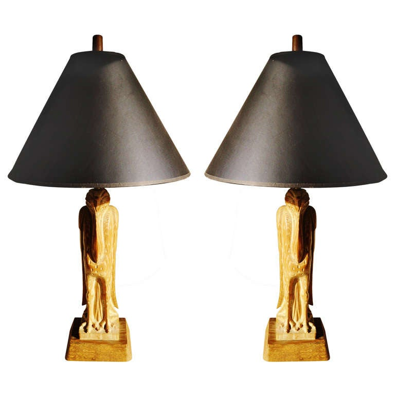 Pair of American Cerused Oak Table Lamps Hand Carved to Represent Stylized Birds Signed Heifetz.