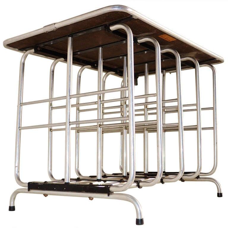 Rare Art Deco Aluminium and Formica End Table/Magazine Rack by McDermott