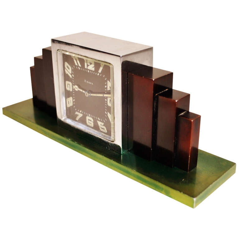Swiss Art Deco Chrome-Plated and Anodized Aluminium Mechanical Shelf Clock