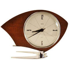 English Space Age Streamline Olivette Mechanical 8 Day Clock by Smiths