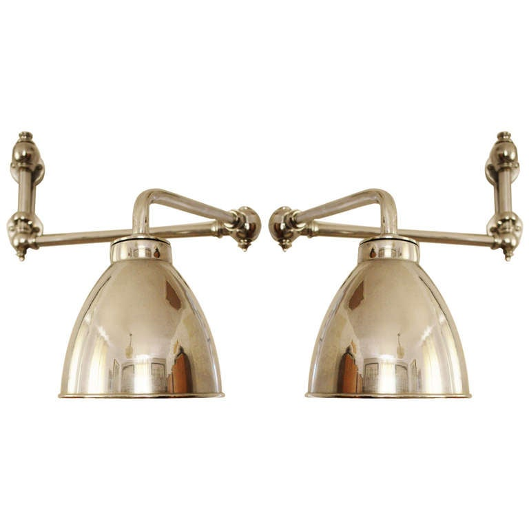 deco chrome plated adjustable wall mounted reading lights at 1stdibs. Black Bedroom Furniture Sets. Home Design Ideas