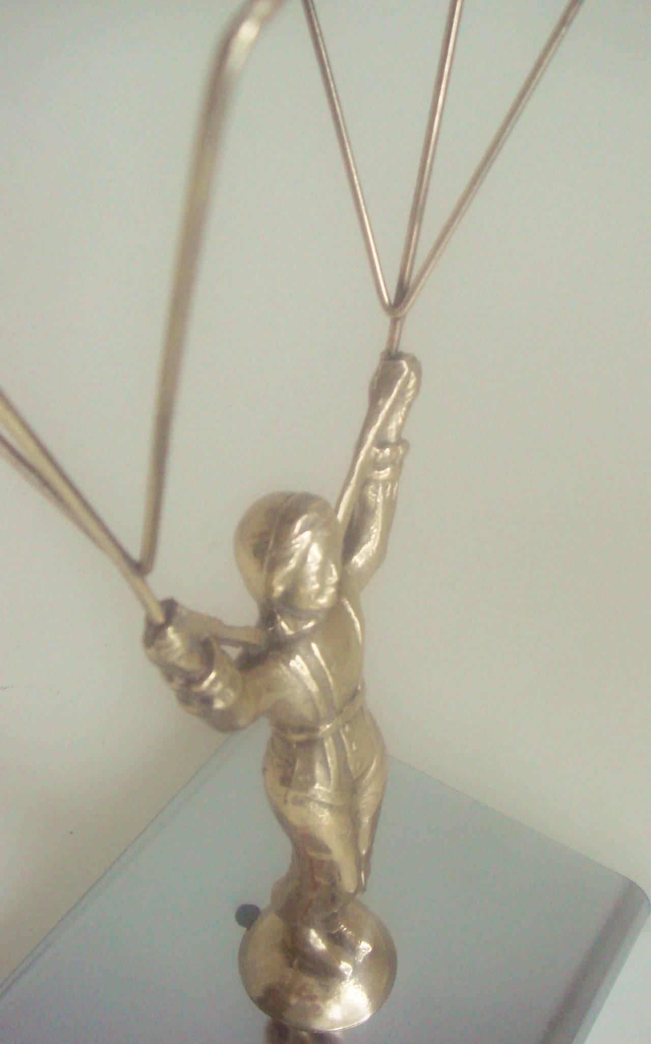1960s Novelty Lighting Lamp : American Art Deco Chrome and Brass Novelty Parachute Jumper Lamp. at 1stdibs