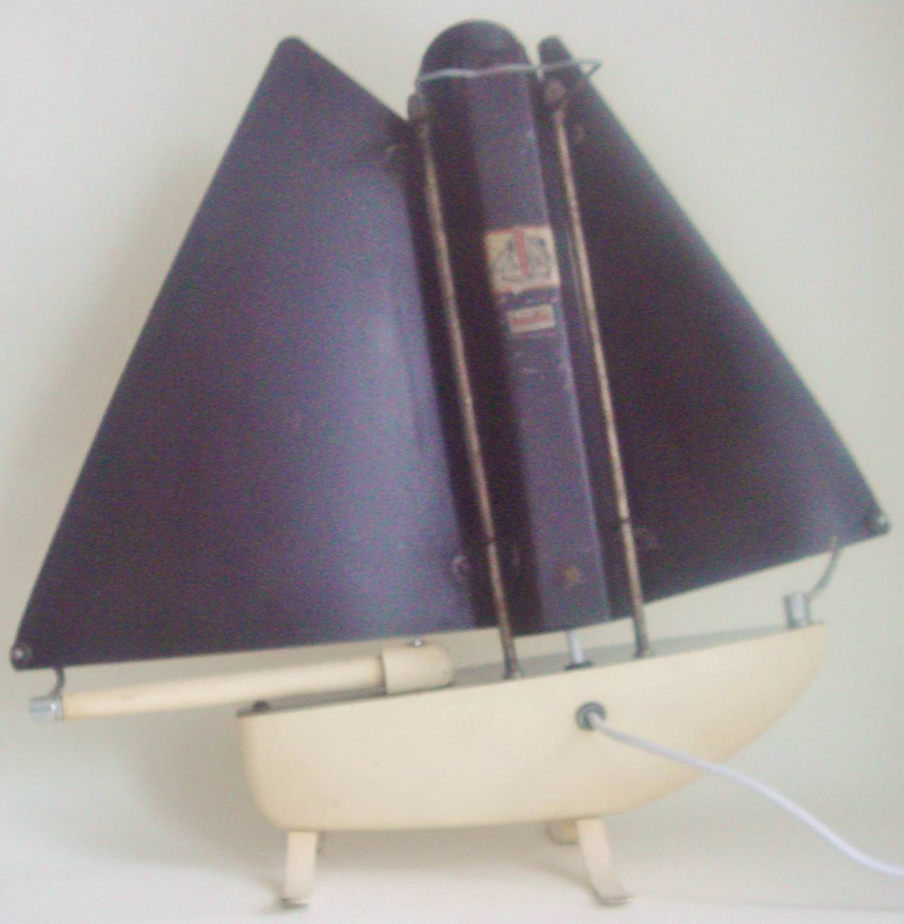 Iconic English Art Deco Bunting Figural Yacht Floor Lamp Conversion. For Sale 2
